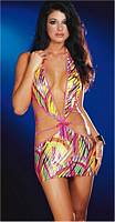 DG-4400 Microfiber Halter Strappy Shiny Print Dress