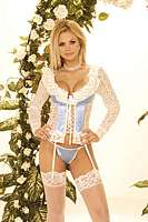 EM-4247 Long Sleeve Lace Bustier with Underwire Cups