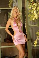 EM-8786 Satin Lycra Halter Sexy Mini-dress