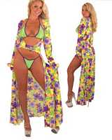 DI-.9020PL Sexy Robe - Wrap Coat with Bikini n Thong