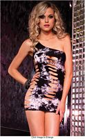 LA-28089 Seamless Asymmetrical Tie Dye Mini Dress