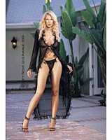 LA-8941 Mesh Long Robe with Chiffon Trim and Thong