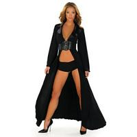 RB-2670SL Black Robe with Waist Cincher