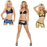 RB-2878LQS Sexy Metallic Belted Rhinestone Top & Short Set