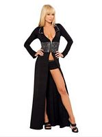 RB-2909 Black Sexy Rhinestone Robe